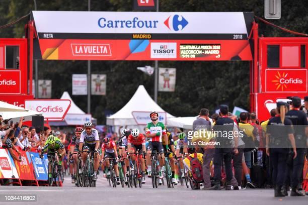 Arrival / Elia Viviani of Italy and Team Quick-Step Floors / Celebration / Peter Sagan of Slovakia and Team Bora - Hansgrohe / Giacomo Nizzolo of...