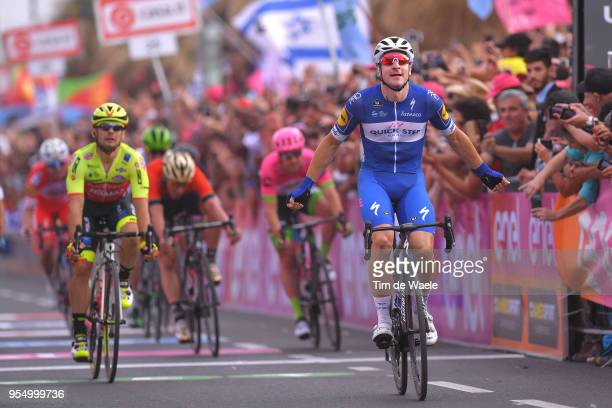 Arrival / Elia Viviani of Italy and Team Quick-Step Floors / Celebration / Jakub Mareczko of Italy and Team Wilier Triestina-Selle Italia / during...
