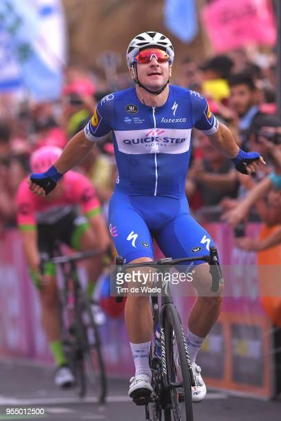 Arrival / Elia Viviani of Italy and Team Quick-Step Floors / Celebration / Jakub Mareczko of Italy and Team Wilier Triestina-Selle Italia / during...