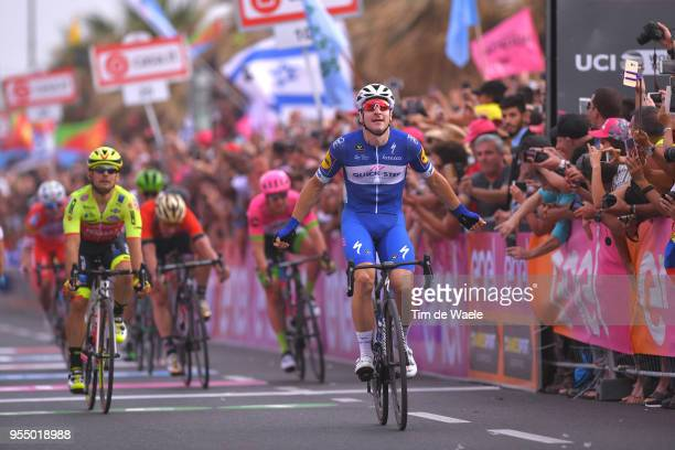 Arrival / Elia Viviani of Italy and Team Quick-Step Floors Celebration / Jakub Mareczko of Italy and Team Wilier Triestina-Selle Italia / during the...