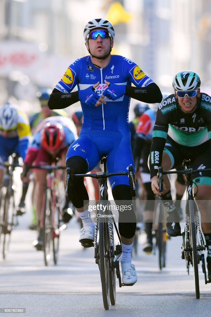 Arrival / Elia Viviani of Italy and Team Quick-Step Floors of Belgium / Celebration / Pascal Ackermann of Germany and Team Bora-Hansgrohe / during the 42nd 3 Days De Panne 2018 a 202,4km race from Brugge to De Panne on March 21, 2018 in De Panne, Belgium.