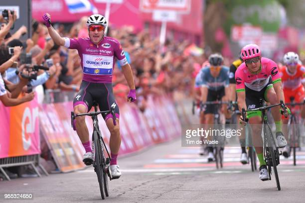Arrival / Elia Viviani of Italy and Team Quick-Step Floors Purple Points Jersey / Celebration / Sacha Modolo of Italy and Team EF Education...