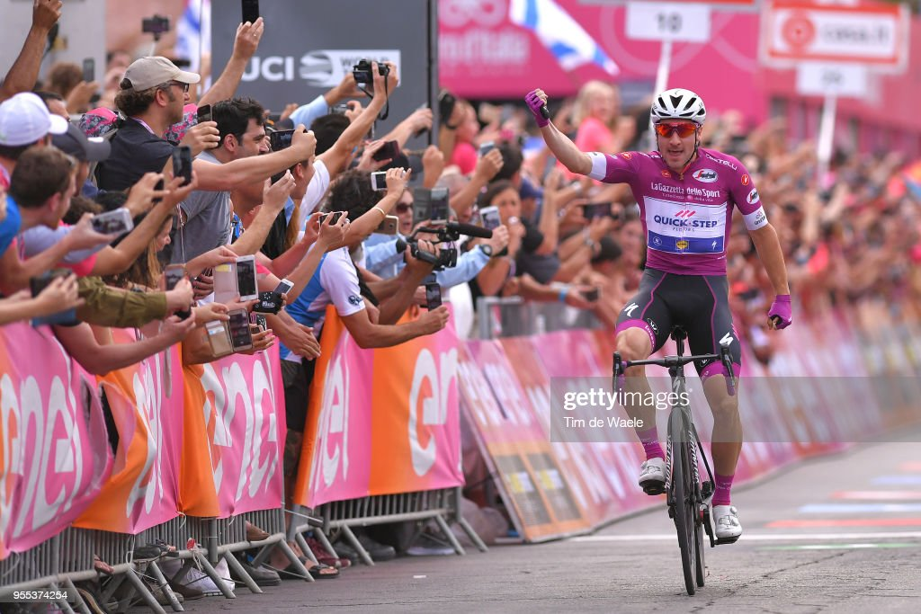Arrival / Elia Viviani of Italy and Team Quick-Step Floors Purple Points Jersey /Celebration / during the 101th Tour of Italy 2018, Stage 3 a 229km stage from Be'er Sheva to Eilat / Giro d'Italia / on May 6, 2018 in Eilat, Israel.