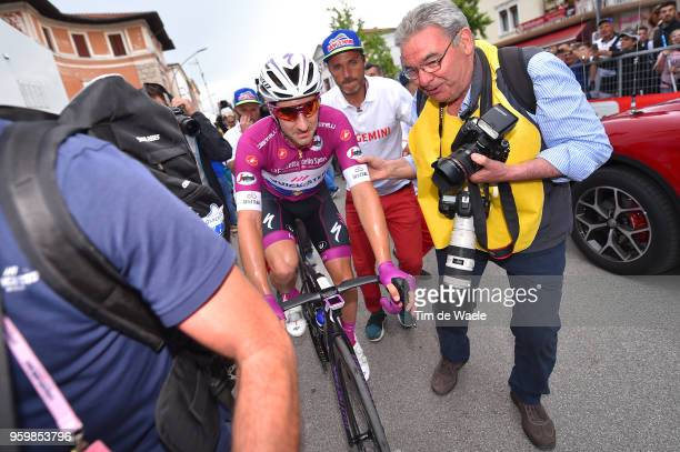 Arrival / Elia Viviani of Italy and Team QuickStep Floors Purple Points Jersey / Celebration / Photographer / during the 101st Tour of Italy 2018...