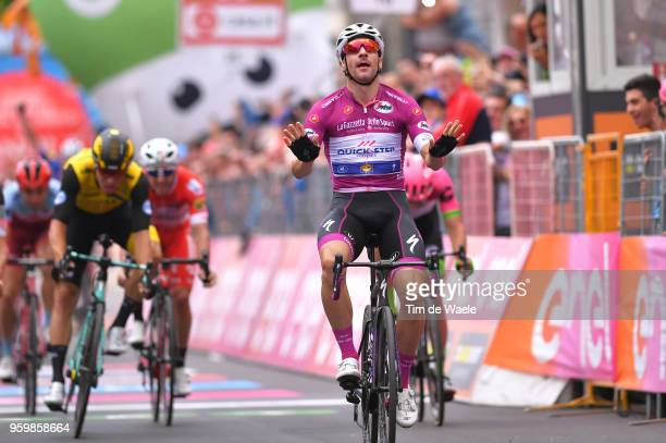 Arrival / Elia Viviani of Italy and Team QuickStep Floors Purple Points Jersey / Celebration / during the 101st Tour of Italy 2018 Stage 13 a 180km...