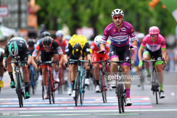Arrival / Elia Viviani of Italy and Team Quick-Step Floors Purple Points Jersey / Celebration / during the 101st Tour of Italy 2018, Stage 13 a 180km...