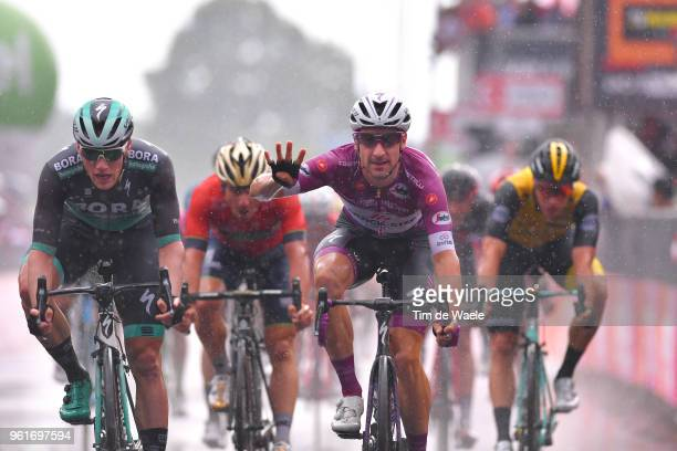 Arrival / Elia Viviani of Italy and Team Quick-Step Floors Purple Points Jersey / Celebration / Sam Bennett of Ireland and Team Bora-Hansgrohe /...