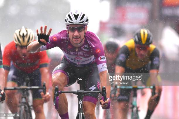 Arrival / Elia Viviani of Italy and Team Quick-Step Floors Purple Points Jersey / Celebration / Rain / during the 101st Tour of Italy 2018, Stage 17...