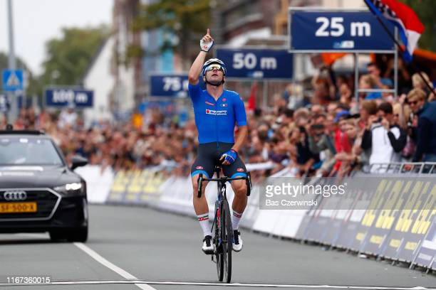 Arrival / Elia Viviani of Italy / Celebration / during the 25th UEC Road European Championships 2019 - Elite Men's Road Race a 172,6km race from...