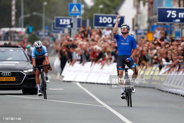 Arrival / Elia Viviani of Italy / Celebration / Yves Lampaert of Belgium / during the 25th UEC Road European Championships 2019 - Elite Men's Road...
