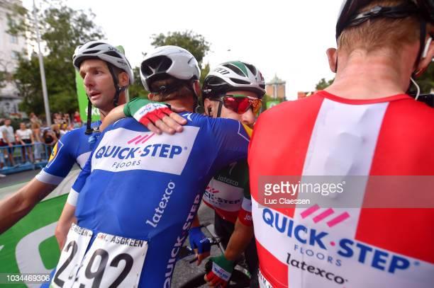 Arrival / Elia Viviani of Italy / Kasper Asgreen of Denmark / Michael Morkov of Denmark / Fabio Sabatini of Italy and Team QuickStep Floors /...