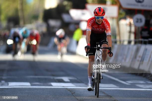 Arrival / Elie Gesbert of France and Team Arkéa - Samsic during the 12th Gran Premio Miguel Indurain 2021 a 203,2km race from Estella to Estella /...