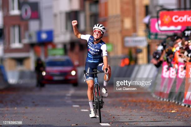 Arrival / Elisabeth Deignan-Armitstead of The United Kingdom and Team Trek- Segafredo / Celebration / during the 4th Liege - Bastogne - Liege 2020,...