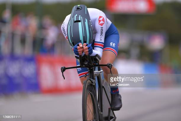 Arrival / Elizabeth Banks of Great Britain / during the 26th UEC Road European Championships 2020 - Women's Elite Individual Time Trial a 25,6km race...