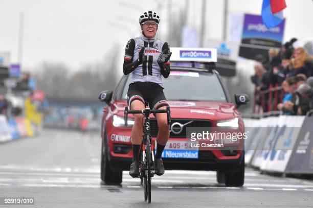 Arrival / Ellen van Dijk of The Netherlands and Team Sunweb / Celebration / during the 7th Dwars door Vlaanderen 2018 a 117,7km women's race from...