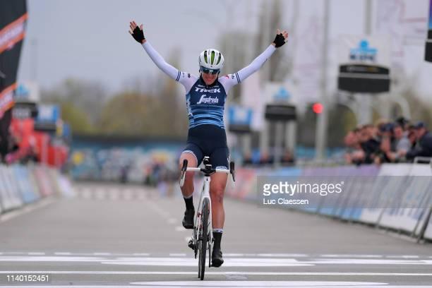 Arrival / Ellen van Dijk of The Netherlands and Team Trek - Segafredo / Celebration / during the 8th Dwars door Vlaanderen 2019, Women Elite a...