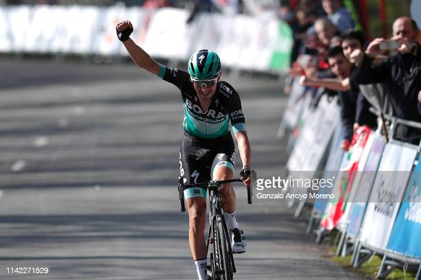 Arrival / Emanuel Buchmann of Germany and Team Bora Hansgrohe / Celebration / during the 59th ItzuliaVuelta Ciclista Pais Vasco 2019 Stage 5 a 1498km...