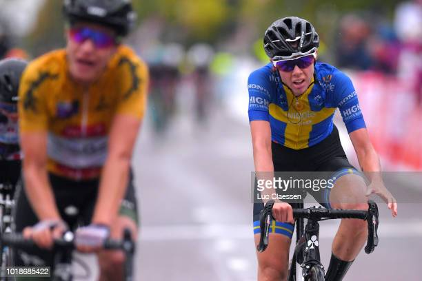 Arrival / Emilia Fahlin of Sweden and Team Wiggle High5 / during the 4th Ladies Tour of Norway 2018 Stage 2 a 1277km stage from Fredrikstad to...