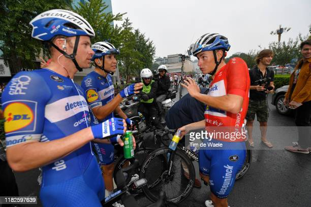 Arrival / Enric Mas Nicolau of Spain and Team Deceuninck - Quick-Step Red Leader Jersey / Celebration / Iljo Keisse of Belgium and Team Deceuninck -...