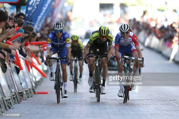 Arrival / Enric Mas of Spain and Team Deceuninck QuickStep / Lucas Hamilton of Australia and Team Mitchelton Scott / David Gaudu of France and Team...