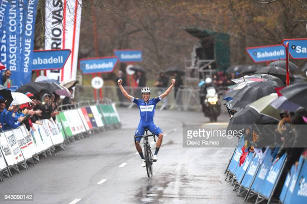 Arrival / Enric Mas of Spain and Team QuickStep Floors / Celebration / Rain / Public / during the 58th Vuelta Pais Vasco 2018 Stage 6 a 1222km stage...