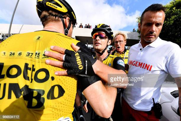 Arrival / Enrico Battaglin of Italy and Team LottoNL-Jumbo / Celebration / Bert-Jan Lindeman of The Netherlands and Team LottoNL-Jumbo / during the...