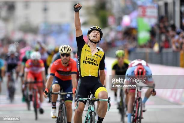 Arrival / Enrico Battaglin of Italy and Team LottoNLJumbo / Celebration / Giovanni Visconti of Italy and Team BahrainMerida / Jose Goncalves of...