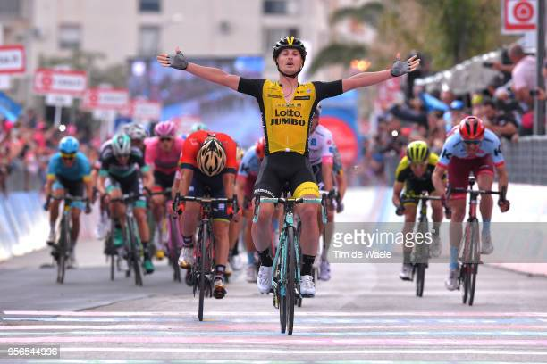 Arrival / Enrico Battaglin of Italy and Team LottoNL-Jumbo Celebration / Giovanni Visconti of Italy and Team Bahrain-Merida / during the 101th Tour...