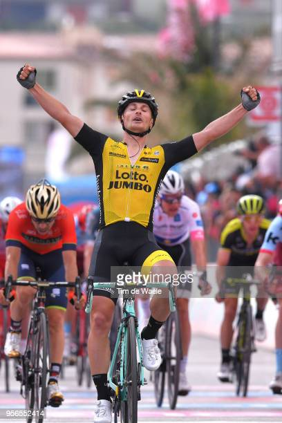 Arrival / Enrico Battaglin of Italy and Team LottoNL-Jumbo Celebration / Giovanni Visconti of Italy and Team Bahrain-Merida / Jose Goncalves of...