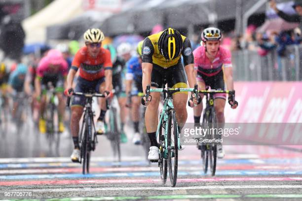Arrival / Enrico Battaglin of Italy and Team LottoNLJumbo / Rain / during the 101th Tour of Italy 2018 Stage 8 a 209km stage from Praia a Mare to...