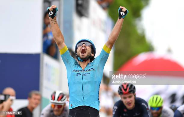 Arrival / Fabio Felline of Italy and Astana Pro Team / Celebration / during the 17th Memorial Marco Pantani 2020 a 199,8km race from Castrocaro Terme...