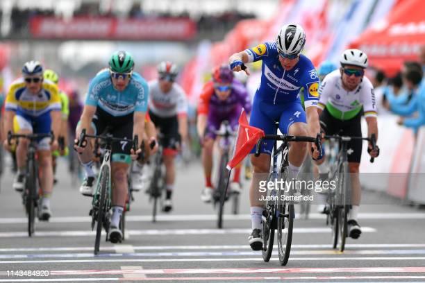 Arrival / Fabio Jakobsen of Netherlands and Team Deceuninck - Quick-Step / Celebration / Sam Bennett of Ireland and Team Bora-Hansgrohe Blue Leader...