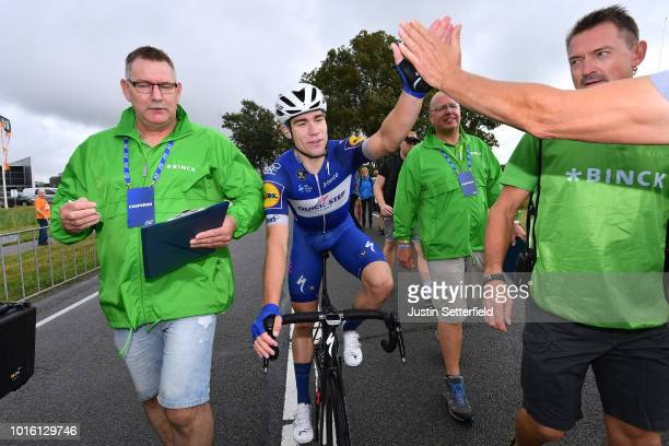 Arrival / Fabio Jakobsen of Netherlands and Team Quick Step Floors / Celebration / during the 14th BinckBank Tour 2018, Stage 1 a 177,3km stage from...