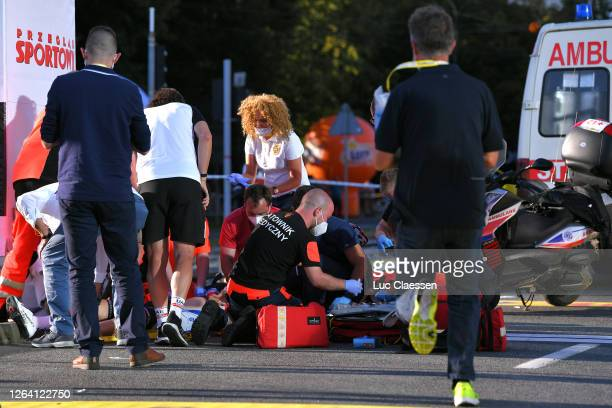 Arrival / Fabio Jakobsen of The Netherlands and Team Deceuninck - Quick-Step / Crash / Doctor / Medical / during the 77th Tour of Poland 2020, Stage...