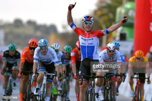 Arrival / Fabio Jakobsen of The Netherlands and Team Deceuninck - Quick Step / Celebration / Elia Viviani of Italy and Team Cofidis / Matteo Trentin...