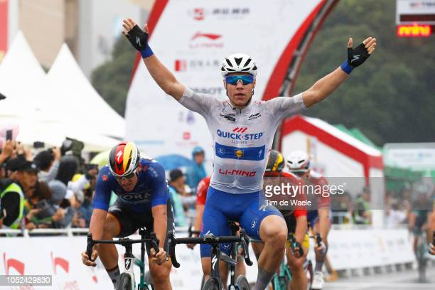 Arrival / Fabio Jakobsen of The Netherlands and Team Quick-Step Floors White Best Young Rider Jersey / Celebration / Pascal Ackermann of Germany and...