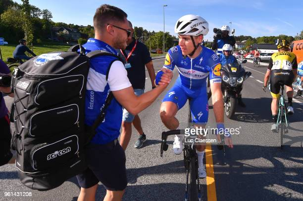 Arrival / Fabio Jakobsen of The Netherlands and Team Quick-Step Floors / Anthony Pauwels of Belgium / Soigneur / Celebration / during the 11th Tour...