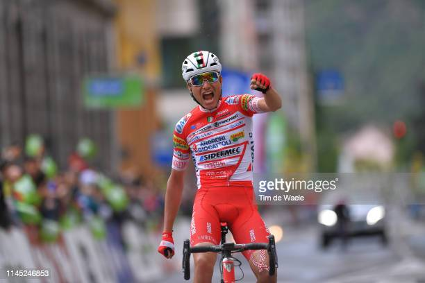 Arrival / Fausto Masnada of Italy and Team Androni Giocattoli - Sidermec / Celebration / during the 43rd Tour of the Alps 2019, Stage 5 a 147,8km...
