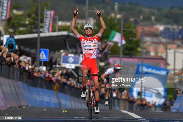 Arrival / Fausto Masnada of Italy and Team Androni Giocattoli - Sidermec / Celebration / Valerio Conti of Italy and UAE - Team Emirates / during the...