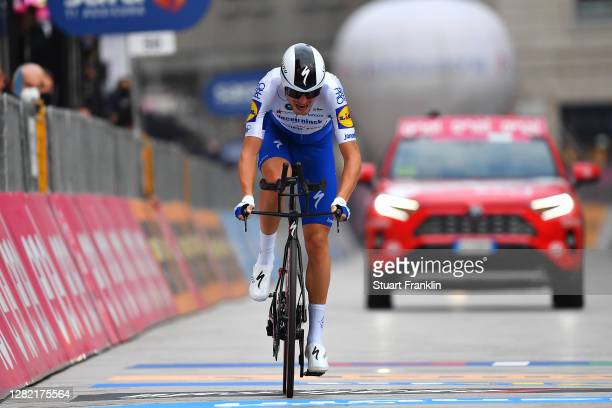 Arrival / Fausto Masnada of Italy and Team Deceuninck - Quick-Step / during the 103rd Giro d'Italia 2020, Stage 21 a 15,7km Individual time trial...