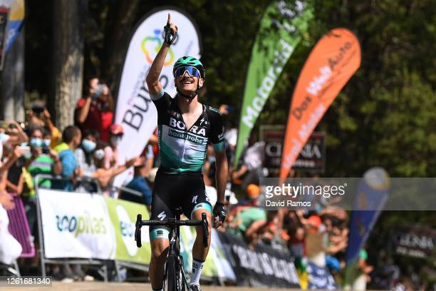 Arrival / Felix Grossschartner of Austria and Team Bora-Hansgrohe / Celebration / during the 42nd Vuelta a Burgos 2020, Stage 1 a 157km stage from...