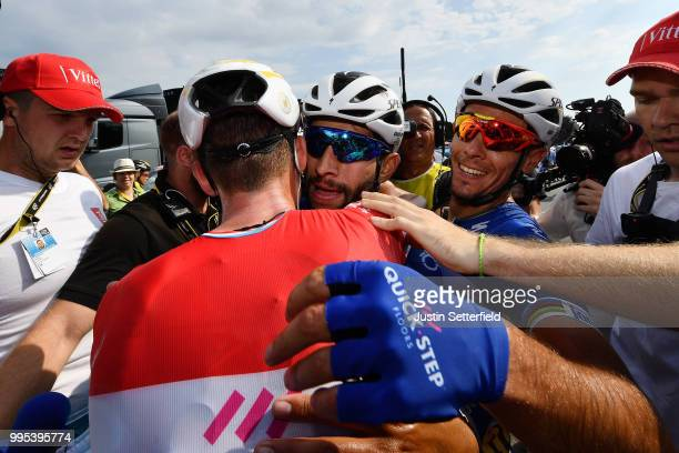 Arrival / Fernando Gaviria of Colombia and Team Quick-Step Floors / Bob Jungels of Luxembourg and Team Quick-Step Floors / Philippe Gilbert of...