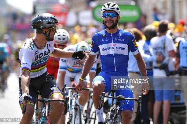 Arrival / Fernando Gaviria of Colombia and Team QuickStep Floors / Celebration / Peter Sagan of Slovakia and Team Bora Hansgrohe / during the 105th...