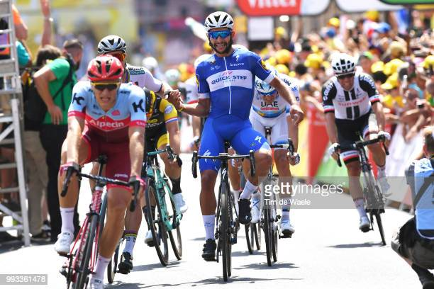 Arrival / Fernando Gaviria of Colombia and Team QuickStep Floors / Celebration / Peter Sagan of Slovakia and Team Bora Hansgrohe / Marcel Kittel of...