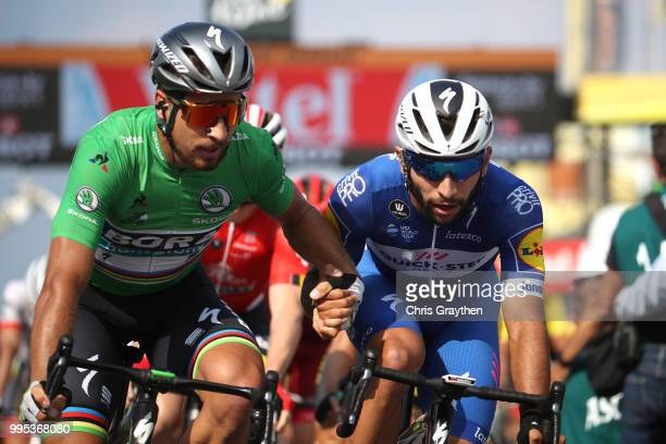 Arrival / Fernando Gaviria of Colombia and Team QuickStep Floors / Peter Sagan of Slovakia and Team Bora Hansgrohe Green Sprint Jersey / Celebration...