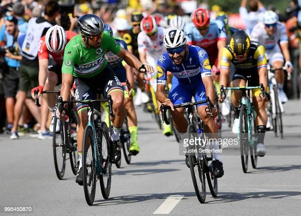 Arrival / Fernando Gaviria of Colombia and Team Quick-Step Floors / Celebration / Peter Sagan of Slovakia and Team Bora Hansgrohe Green Sprint Jersey...
