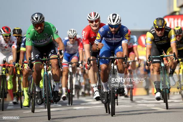 Arrival / Fernando Gaviria of Colombia and Team QuickStep Floors / Celebration / Peter Sagan of Slovakia and Team Bora Hansgrohe Green Sprint Jersey...