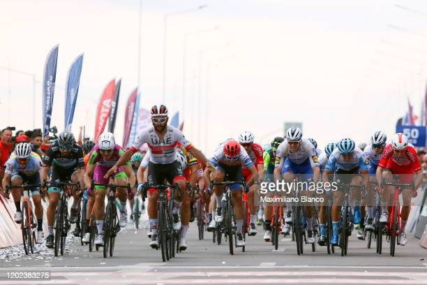 Arrival / Fernando Gaviria of Colombia and UAE Team Emirates / Celebration / Nicolas J Naranjo of Argentina and Team Agrupacion Virgen De Fatima /...