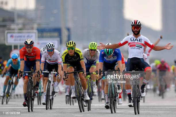 Arrival / Fernando Gaviria of Colombia and UAE - Team Emirates / Celebration / Pascal Ackermann of Germany and Team Bora-Hansgrohe Blue Sprint Jersey...