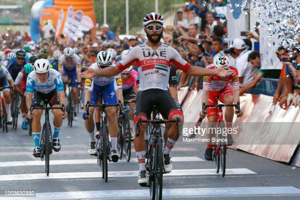 Arrival / Fernando Gaviria of Colombia and UAE Team Emirates / Celebration / Peter Sagan of Slovakia and Team Bora-Hansgrohe / José Álvaro Hodeg of...